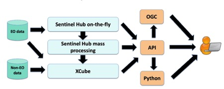 The European Data Cube Facility Service high-level architecture