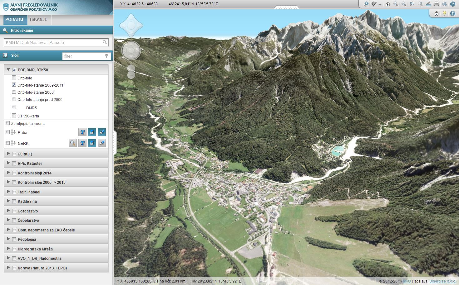 ortofoto karta 3D viewer | Sinergise ortofoto karta