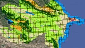 Land cover prediction map for Azerbaijan, divided into 1224 EOPatches.