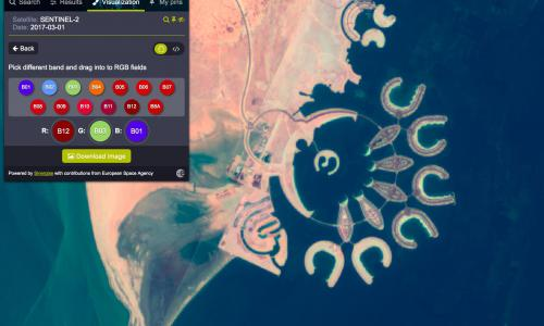Durrat Al Bahrain, Bahrain - The user can apply different pre-installed and custom spectral band combinations to highlight and visualise any data type on the image. Different variety of bands are useful in agriculture, vegetation studies, maritime monitoring and analysis, natural disasters management and more.